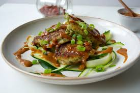 courgette cuisine courgette fritters with peanut sauce peta uk