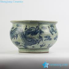Reproduction Chinese Vases Blue And White Fish Bowl And Planter Jingdezhen Shengjiang
