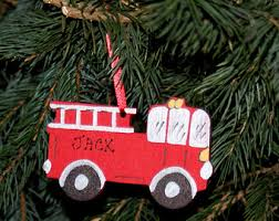 Fire Trucks Decorated For Christmas Wood Fire Truck Etsy
