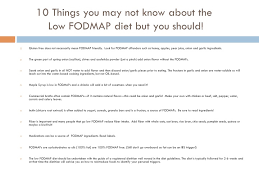 10 things you may not know about the low fodmap diet for a