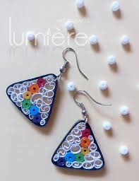 paper ear rings rainbow paper earrings triangular swirl quilling ink
