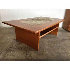 tile top coffee table mid century danish modern tile top coffee table chairish