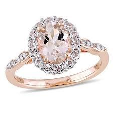 morganite gold engagement ring 1 83ctw pink morganite and white diamond 14k gold halo ring