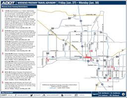Phoenix Road Map by Adot Weekend Freeway Traffic Advisory Jan 27 30 3tv Cbs 5