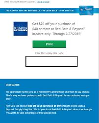 Bed Barh And Beyond Coupons Ms Opportunity 20 Off 40 Purchase At Bed Bath Beyond For Chase
