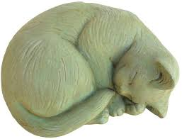 Cat Garden Decor Cast Stone Indoor Outdoor Decor Small Curled Cat Garden Statue