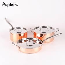 batterie cuisine cuivre agniers haute qualité 3 casseroles 6 pcs cuivre batterie de cuisine