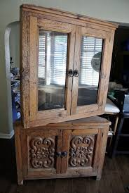 2 Piece China Cabinet Antique Hand Carved Mexican Wormwood 2 Piece Corner Hutch China