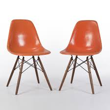 dark orange pair 2 herman miller original eames dsw side shell