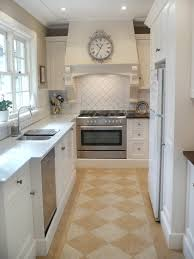 Antique White Country Kitchen Cabinets Interior White Country Galley Kitchen In Delightful Long Narrow