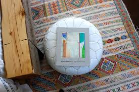 good looking moroccan pouf in bedroom transitional with master