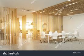 side view open office interior wooden stock illustration 442840915