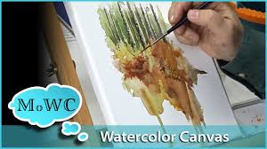 painting on watercolor canvas u2013 landscape demo youtube