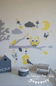 hibou chambre bébé stickers hibou jaune gris blanc lune nuage étoiles papillon