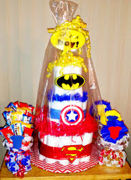 halloween themed diaper cakes super hero diaper cake and taffy apples by sassy4invites