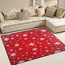 amazon com alaza merry christmas snowflake red area rug rugs mat