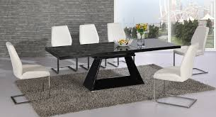 Extending Black Glass High Gloss Dining Table And  White Chairs - Black dining table for 8