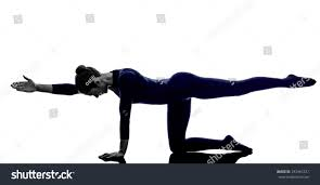 woman exercising balancing table pose yoga stock photo 243481237