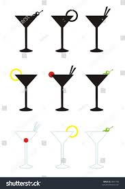 james bond martini glass various martini glasses stock vector 8041108 shutterstock