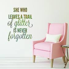 she who leaves a trail of glitter quote sparkly glitter wall she who leaves a trail of glitter quote sparkly glitter wall sticker v c designs