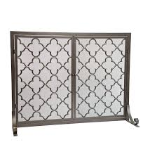 plow hearth geometric single panel steel fireplace screen