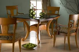 Wood And Glass Dining Table Dining Room Upholstered Dining Chairs With Saloom Furniture And