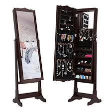 Free Standing Full Length Mirror Jewelry Armoire Amazon Com Langria Led Lockable Carved Jewelry Armoire Cabinet