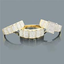 trio wedding sets wedding ring sets trio diamond ring set 0 88ct 10k