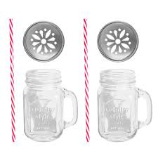 2 x 16oz glass jar mugs available at this is it stores uk