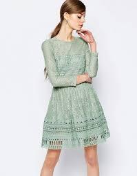 asos asos premium lace skater dress