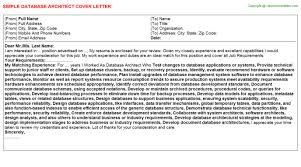cover letter for architect database architect cover letters