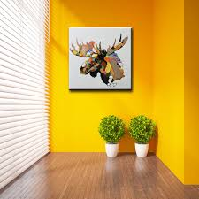 yhhp canvas oil painting moose head hand painted 80cm x 80cm yhhp hand painted moose head canvas oil painting wall art