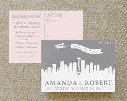 post card invitation modern skyline postcard save the date white ink