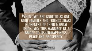 wedding wishes quotes for family when two are knotted as one both families and friends in