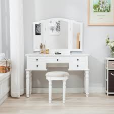 Folding Vanity Table with Tri Folding Mirror Vanity White Dressing Table Set Makeup Desk