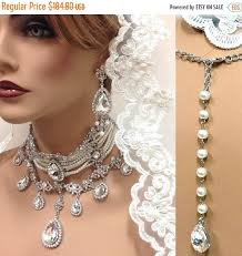 wedding choker necklace images Bridal choker statement necklace earrings vintage inspired jpg