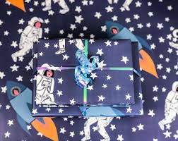 space wrapping paper astronaut gift wrap etsy