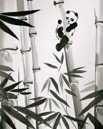 hand crafted sumi e ink painting zen style home decor and