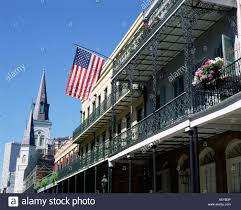 Iron On American Flag American Flag U0026 Wrought Iron Balcony In The French Quarter Usa