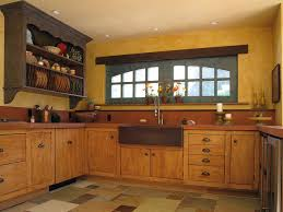 yellow wood kitchen cabinets with french country style red