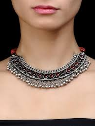 silver choker necklace images Buy ethno silver choker necklace by amrapali online at jpg