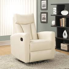 amazon com monarch specialties ivory bonded leather swivel glider