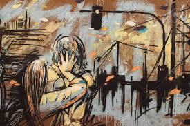 urban and fantasy scene of love painted on a wall stock photo stock photo urban and fantasy scene of love painted on a wall