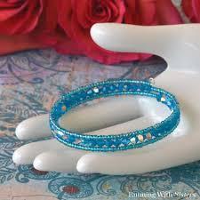 beaded wire bracelet images Caribbean blue memory wire bracelet jpg