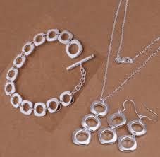bracelet sets geometric links sterling silver necklace earrings and bracelet