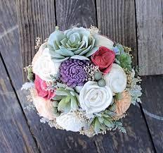 Wedding Flowers Keepsake Alternative Wedding Bouquet Faux Succulents Dusty Miller Sola