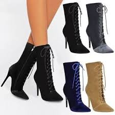 s boots with laces womens lace up stretchy high heel stiletto ankle boots