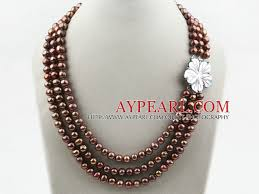 color pearl necklace images Strands coffee brown color round freshwater pearl necklace with jpg