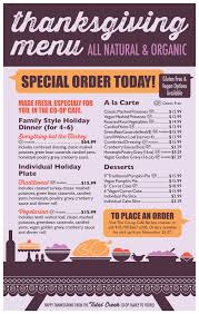 thanksgiving special ordering from the co op cafe tidal creek coop