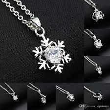 silver heart necklace wholesale images Wholesale korean silver diamond necklaces pendant snow flower jpg